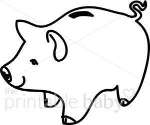 Black and white piggy bank clipart png freeuse Piggy Bank Outline Clipart - Clipart Kid png freeuse