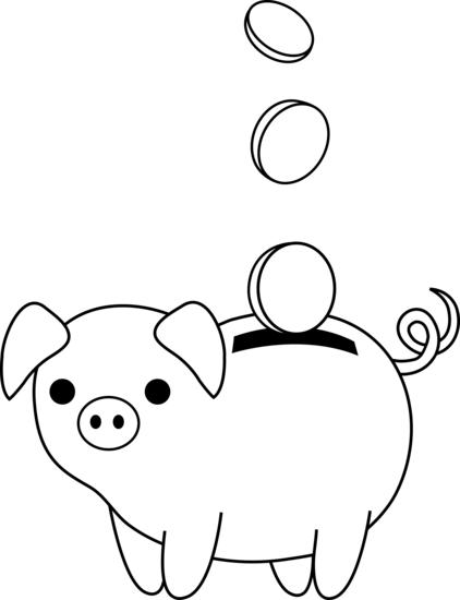 Black and white piggy bank clipart banner library download Piggy bank clipart black and white - ClipartFest banner library download