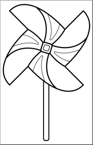 Black and white pinwheel clipart jpg library Clip Art: Pinwheel: 4 Blades 3 w/Stick B&W I abcteach.com | abcteach jpg library