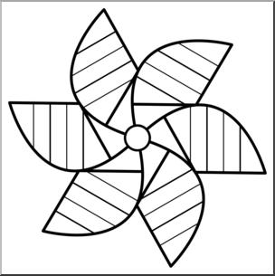 Black and white pinwheel clipart image download Clip Art: Pinwheel: 6 Blades 2 B&W I abcteach.com | abcteach image download