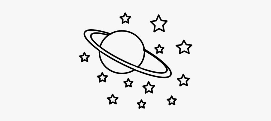 Black and white planet with stars clipart