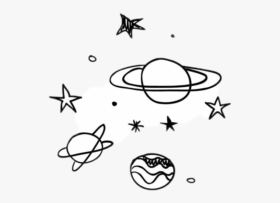 Black and white planet with stars clipart graphic stock black #stars #white #sky #galaxy #planet #planets - Aesthetic Simple ... graphic stock