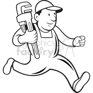 Free clipart black and white cog and wrench svg black and white black and white plumber monkey wrench running 001 clipart. Royalty-free  clipart # 388158 svg black and white