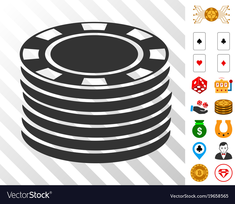 Black and white poker chip stack clipart vector transparent library Casino chip stack icon with bonus vector transparent library