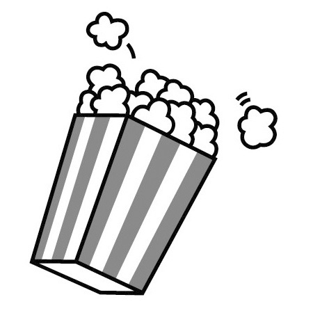 Popcorn black and white clipart