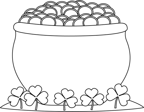 Pot o gold clipart black and white free