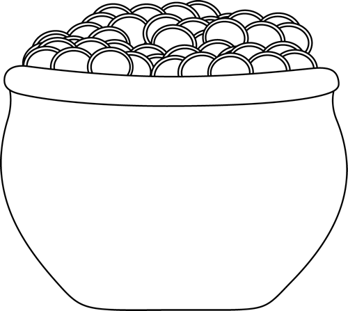 Black and white pot of gold clipart clip art black and white Black and White Pot of Gold   NEW - pins   Pot of gold image, Pot of ... clip art black and white