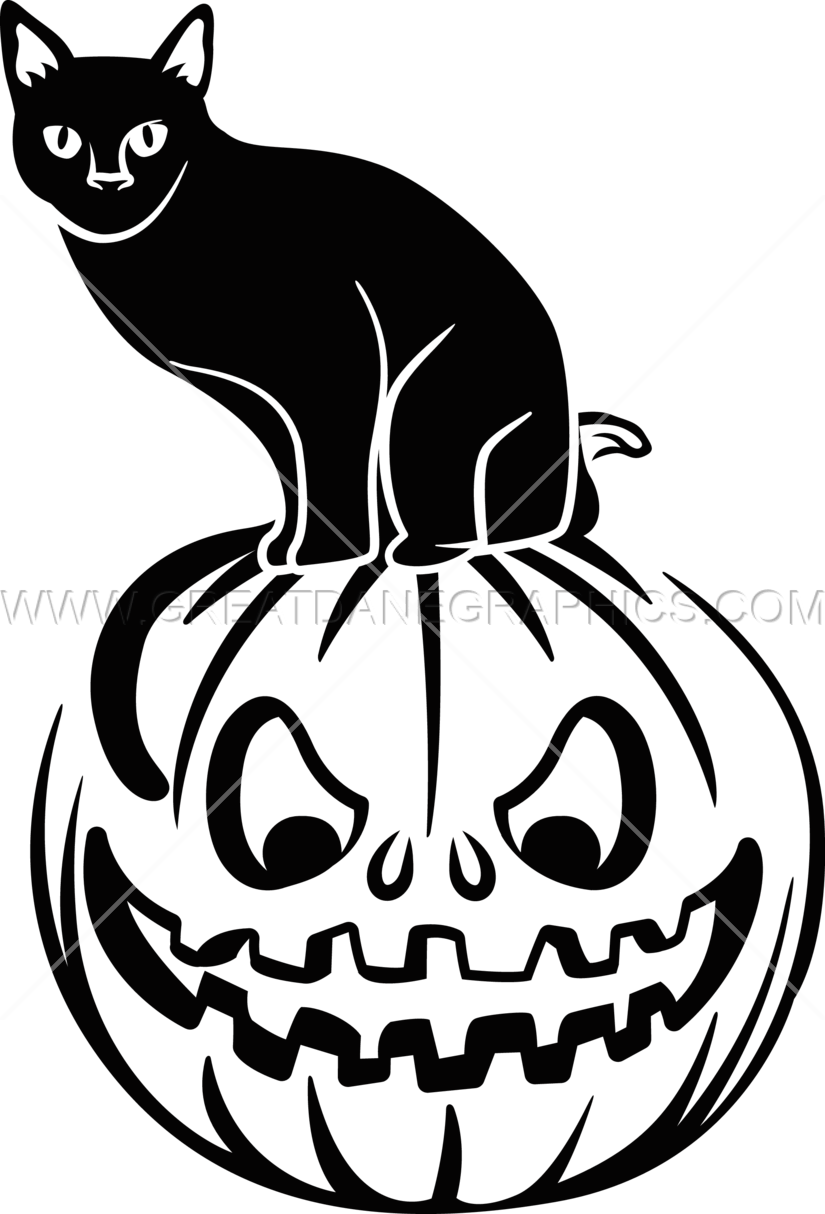 Cat and pumpkin clipart vector freeuse stock Black Cat On Pumpkin | Production Ready Artwork for T-Shirt Printing vector freeuse stock