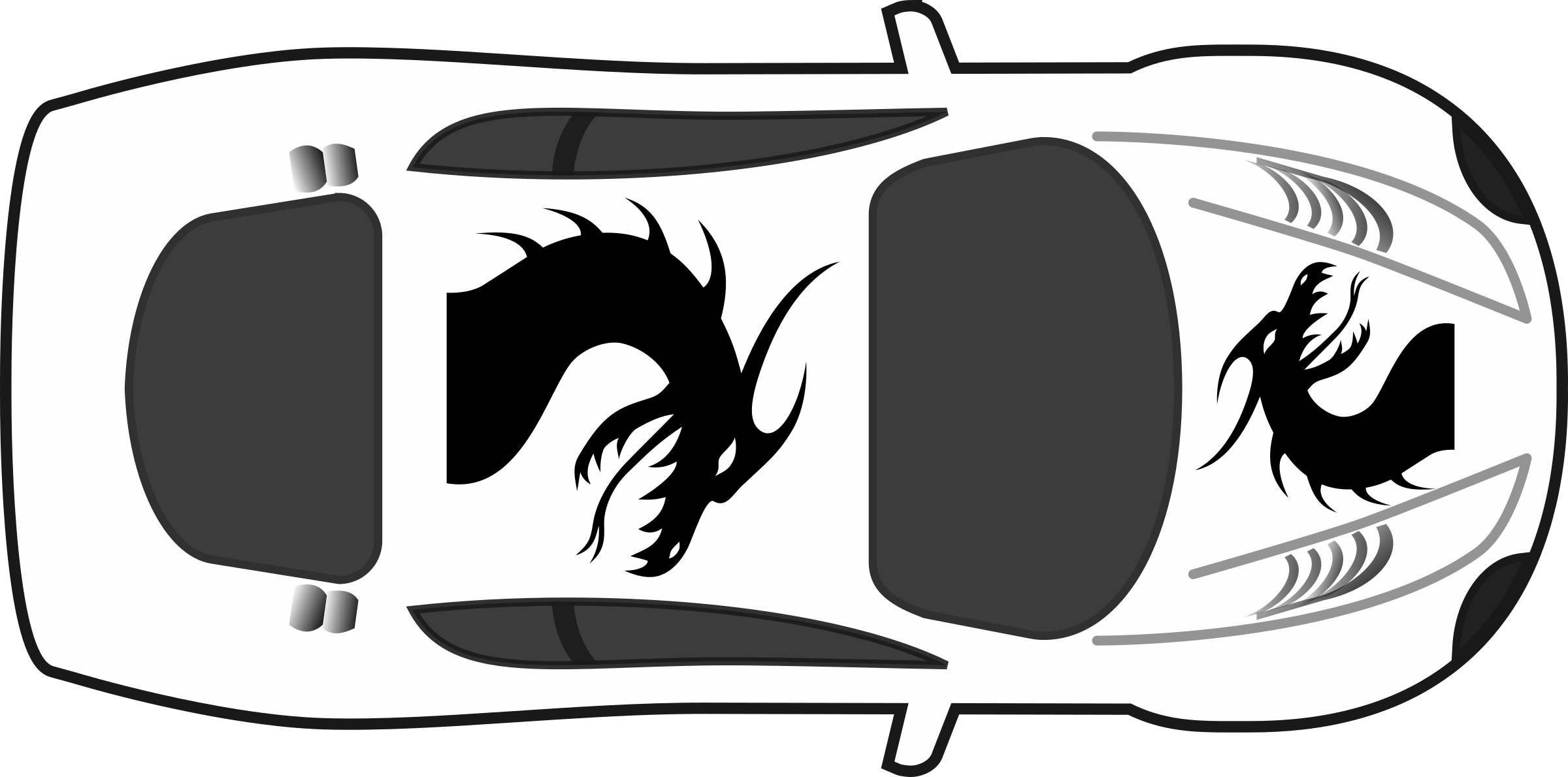 Black and white race car clipart royalty free download Clipart - Dragon Paint Job on Car Top View royalty free download