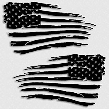 Black and white ragged american flag clipart image vector library library American Flag Decal Distressed Grunge Style Battle Military Decal Set Matte  Black vector library library