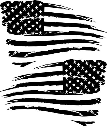 Black and white ragged american flag clipart image clip free PPGDEPOT 2 Distressed Military American Flag Decal Sticker Compatible for  Dodge Jeep Chevy Ford & More (6\