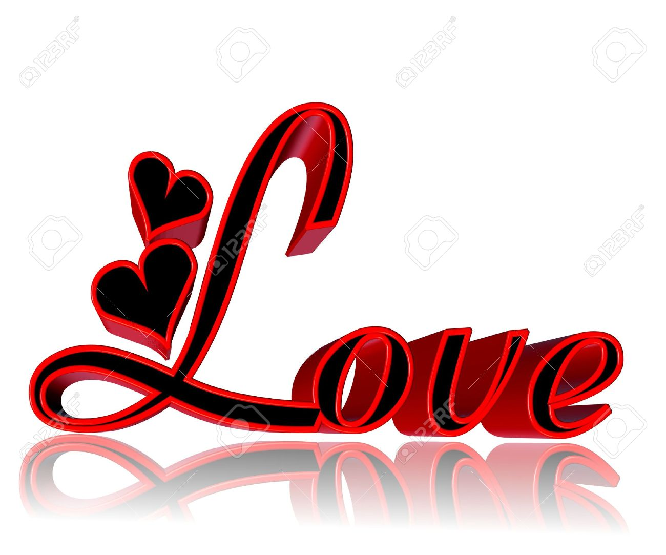 Black and white red hearts love clipart royalty free download 3d Word Love With Hearts In Red And Black On White Background ... royalty free download
