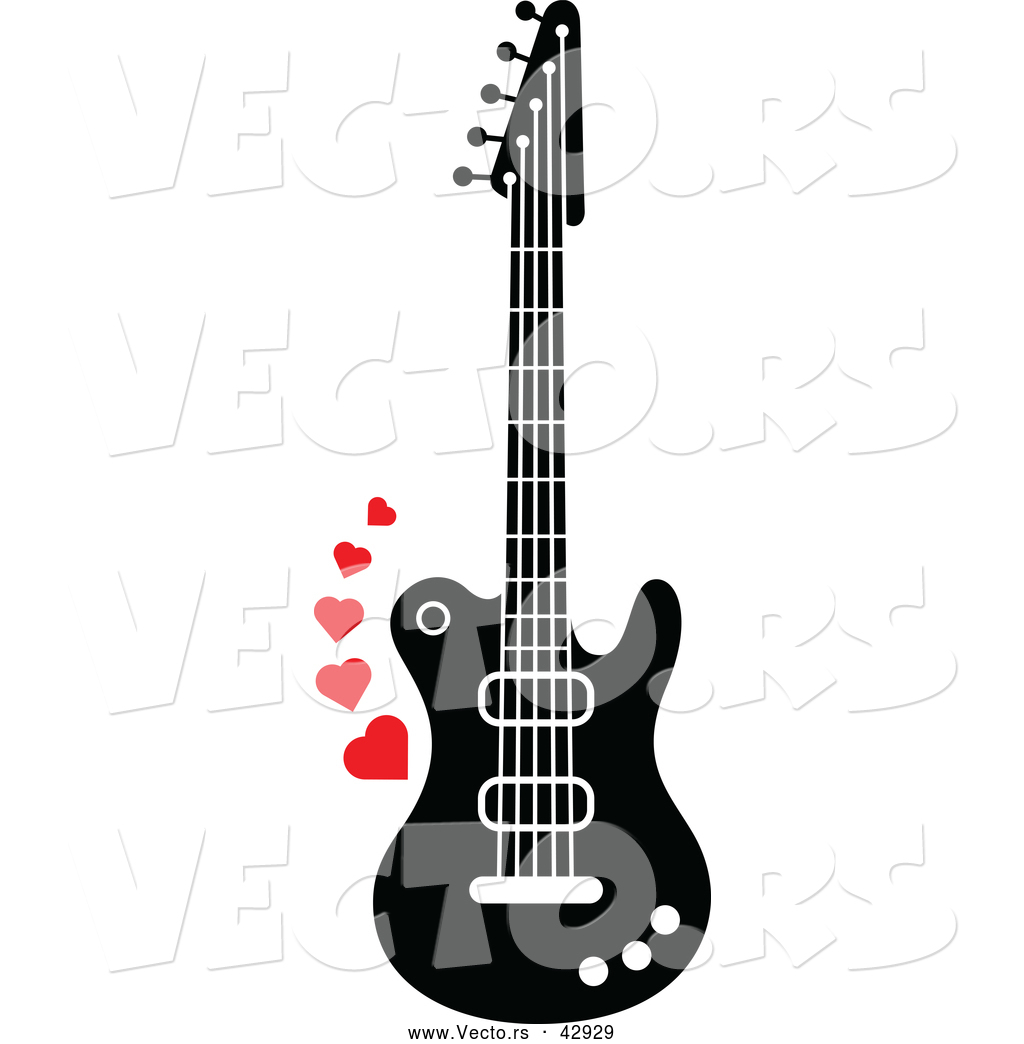Vector of a Black and White Electric Guitar with Red Love Hearts ... clip art royalty free