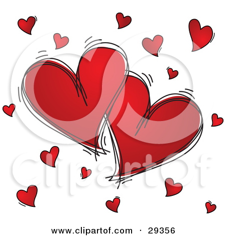 Clipart Illustration of Two Red Hearts With Black Sketched ... clip royalty free library