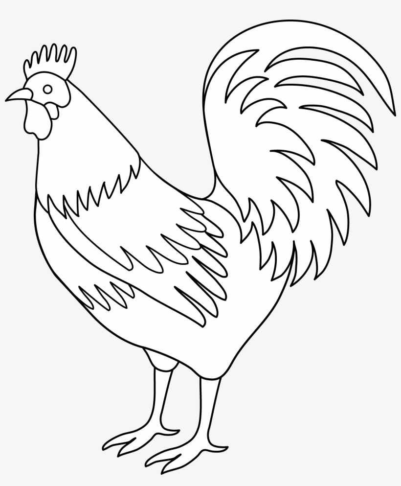 Black and white rooster clipart graphic free library Chicken Clipart Tail - Black And White Rooster Art Transparent PNG ... graphic free library