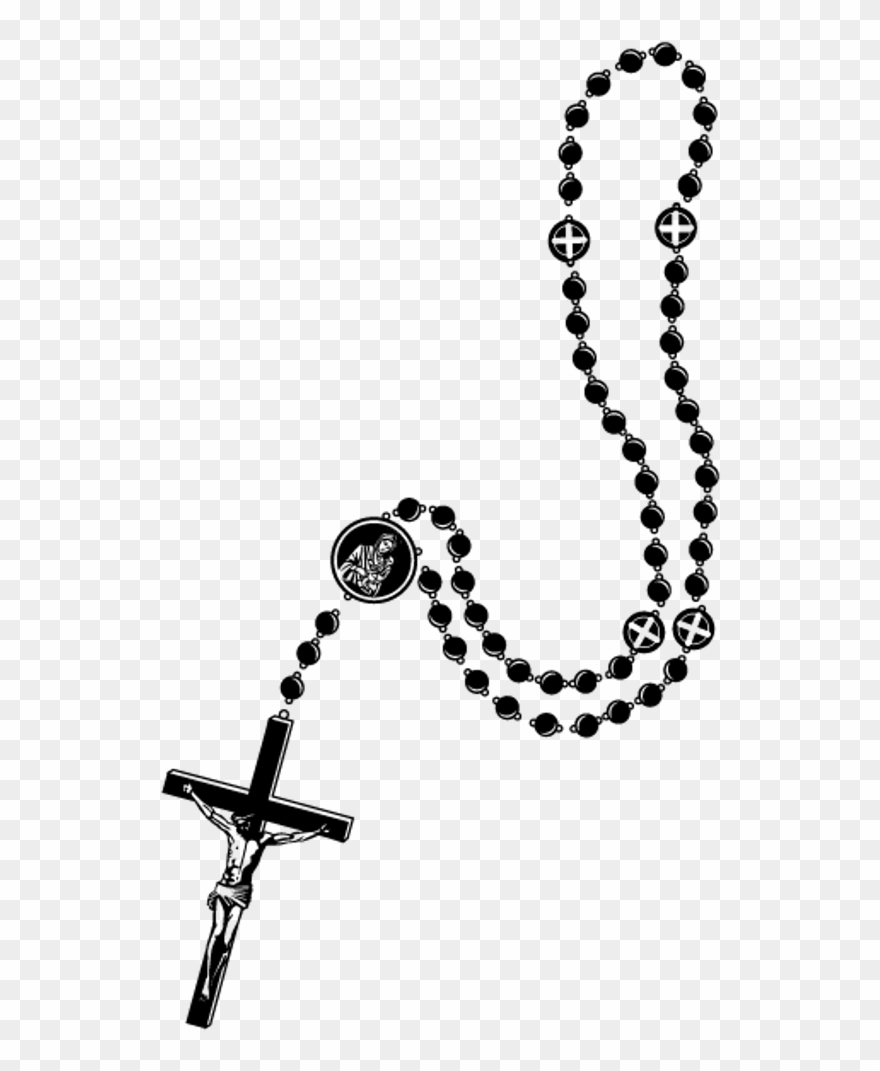 Cross & rosary clipart black and white vector black and white download Rosary Clipart Png , Png Download - Transparent Transparent ... vector black and white download