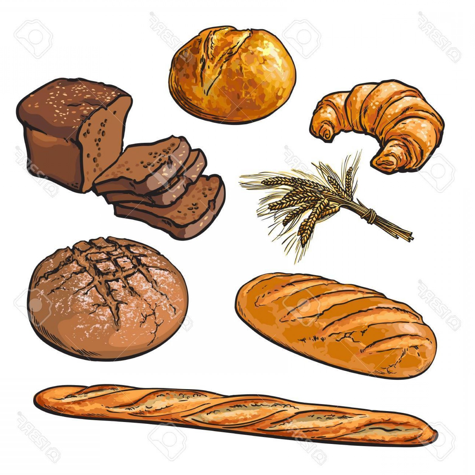 Black and white rye bread baking clipart clip freeuse stock Set Bread Products Pastries Vector On A White Background Sliced Loaf ... clip freeuse stock