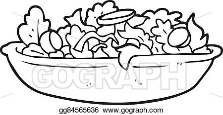 Black and white salad clipart image transparent stock Vector Clipart - Black and white cartoon salad. Vector Illustration ... image transparent stock