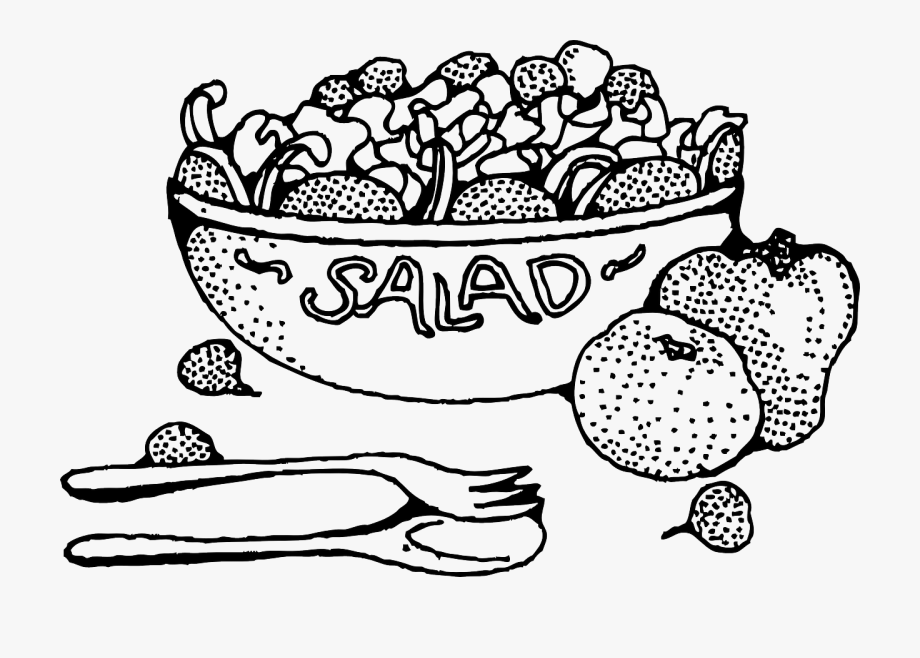 Black and white salad clipart vector royalty free Food Salad Bowl Free Picture - Salad Black And White #2571591 - Free ... vector royalty free
