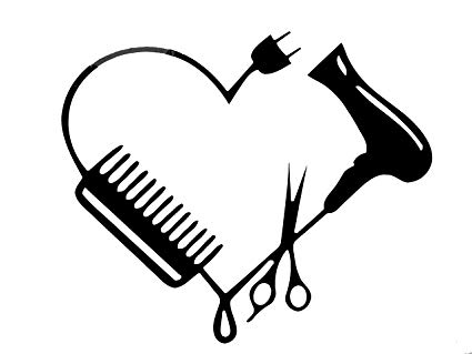 Black and white scissors and blowdryer clipart jpg free stock Blow Dryer Scissors Comb Heart Car Wall Decal Sticker 75124 7.5 ... jpg free stock