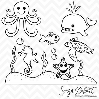 Black and white sea creatures clipart png royalty free download Sea creatures clipart black and white 4 » Clipart Portal png royalty free download