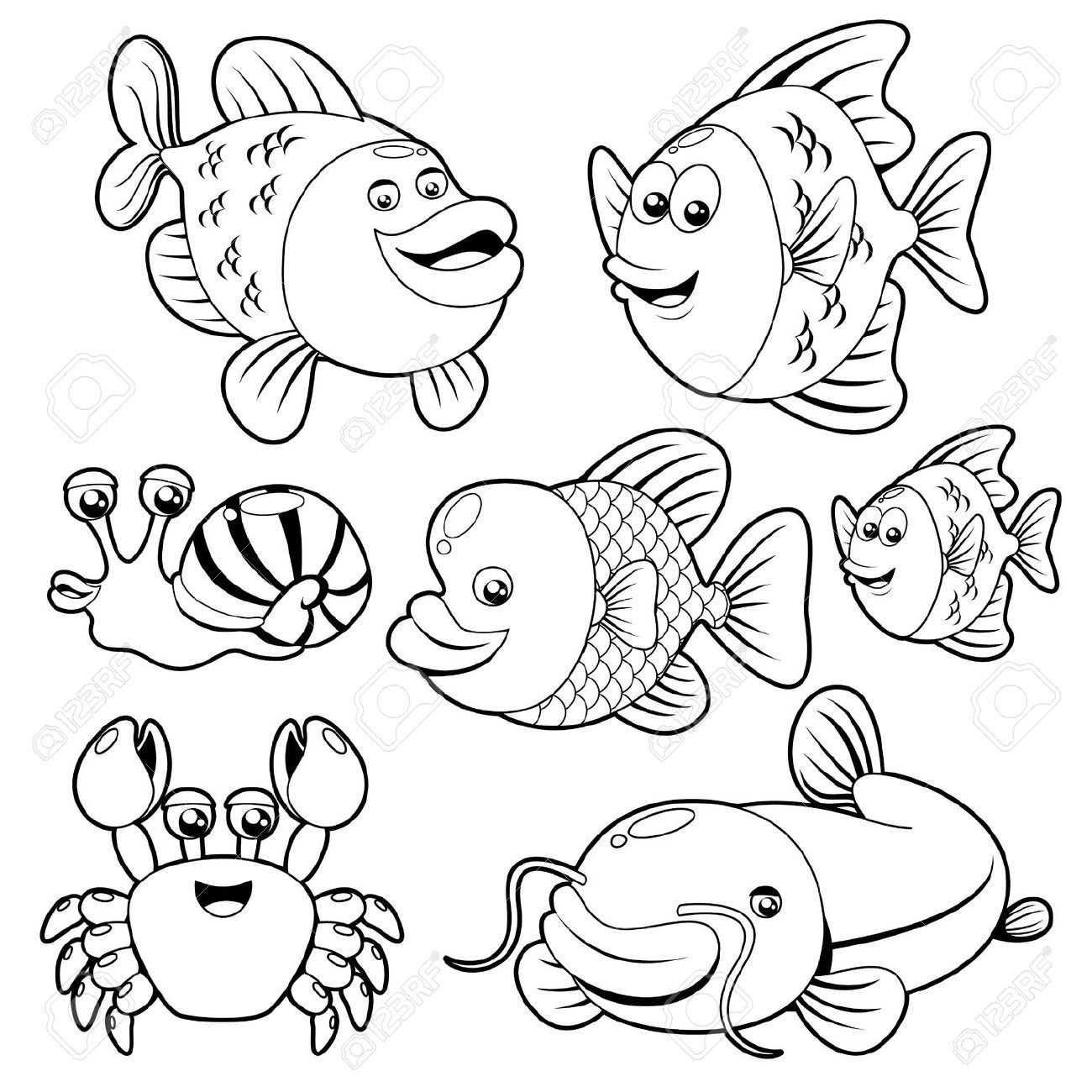 Black and white sea creatures clipart image freeuse stock Ocean Animals Clipart Black And White Fishs black and white ... image freeuse stock