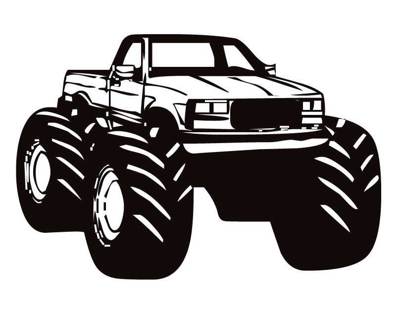Black and white simple monster truck clipart graphic transparent library Monster truck clip art black and white clipartfox 2 | mud | Monster ... graphic transparent library