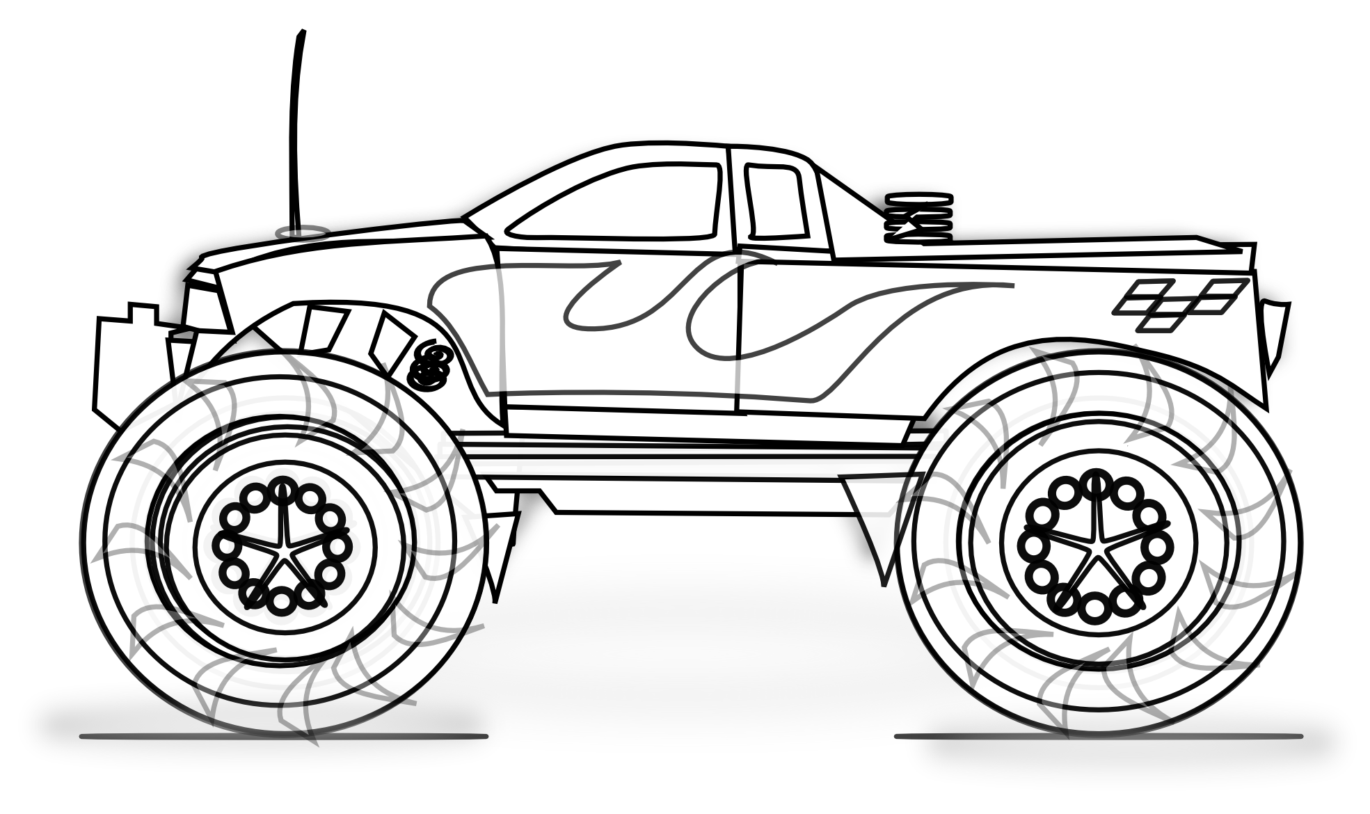 Black and white simple monster truck clipart clipart library download Free Printable Monster Truck Coloring Pages For Kids | Birthday ... clipart library download