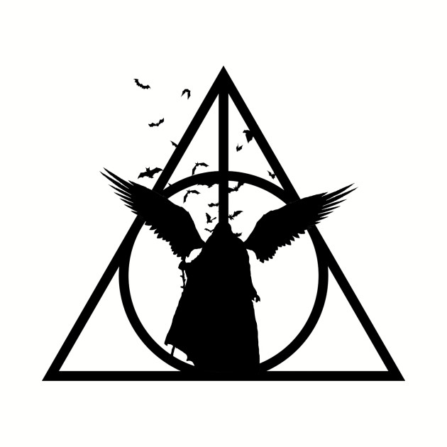 Black and white slytherin clipart graphic library Harry Potter - Deathly Hallows - Tale of the 3 brothers (another version)  with bats - elder wand, invisibility cloak, resurrection stone - Potterhead  ... graphic library