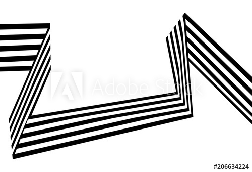 Black and white striped ribbon clipart image black and white library Abstract black and white stripes bent ribbon geometrical shape ... image black and white library