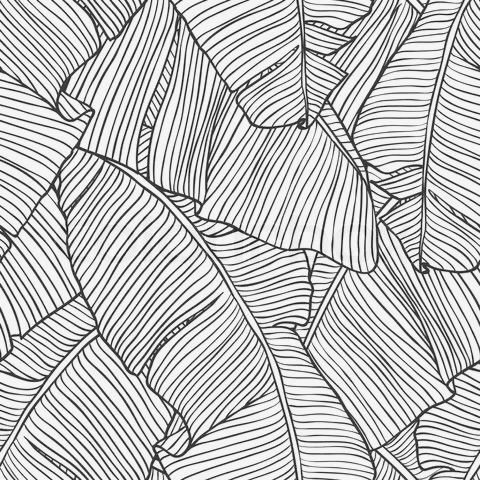 Black and white subtle tree patterns clipart vector free library Palm Tree Leaf Print - black & white pattern, tropical print design ... vector free library