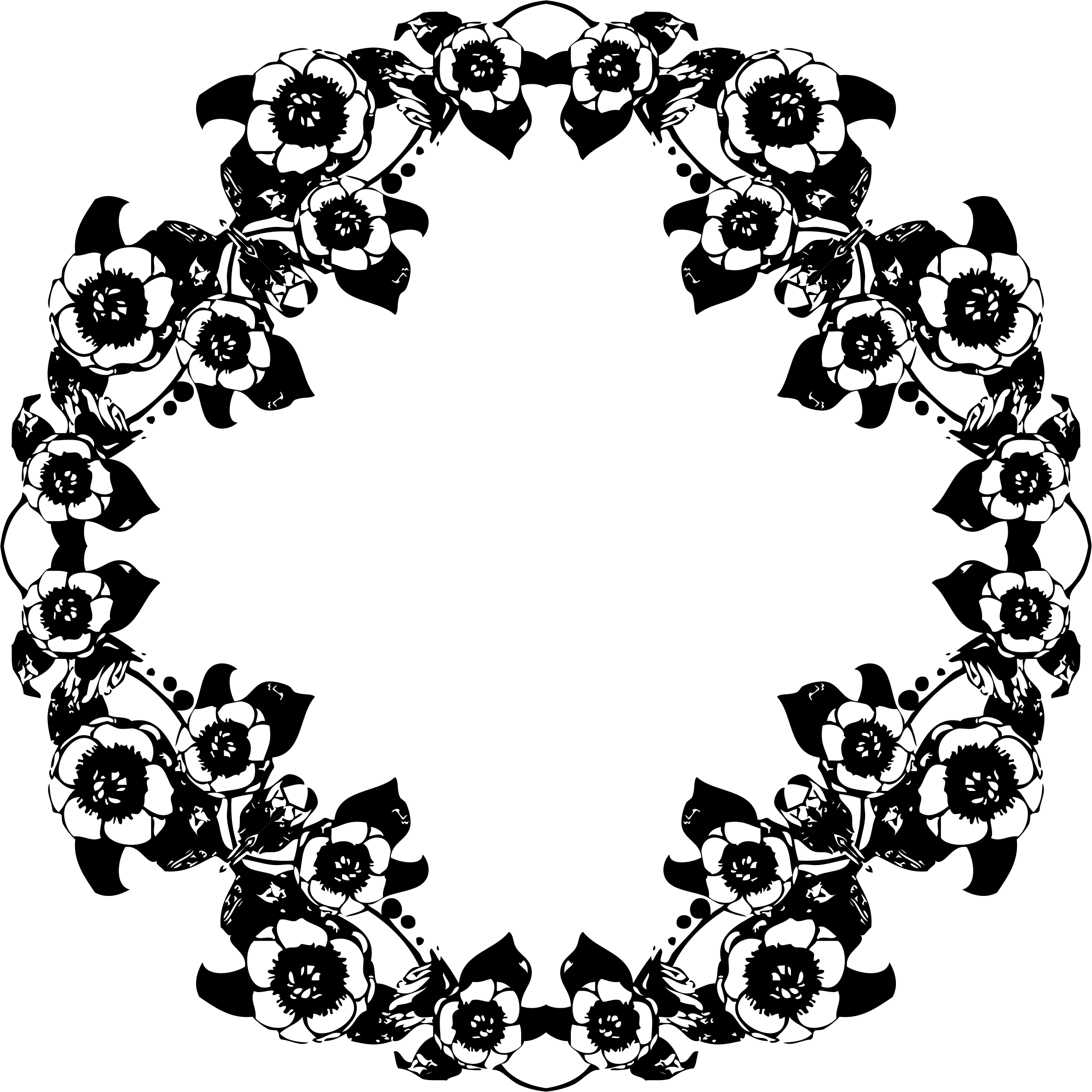 Vintage floral design. Flower wreath clipart black and white