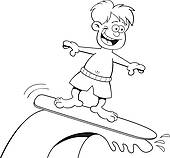 Black and white surfer clipart