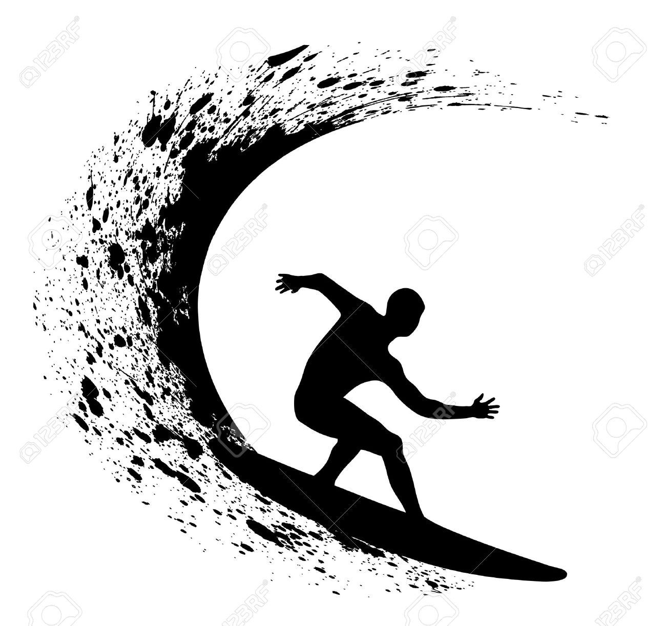 Surfing clipart black and white clipart transparent Surfer Clipart | salaharness.org clipart transparent