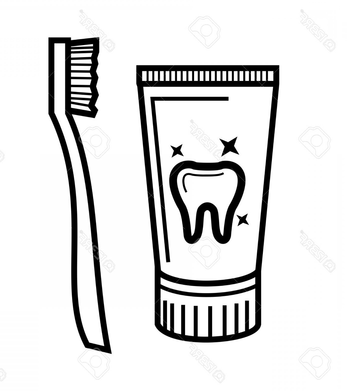 Black and white toothpaste clipart jpg black and white download Photostock Vector Vector Black Toothbrush And Toothpaste Icon Set ... jpg black and white download