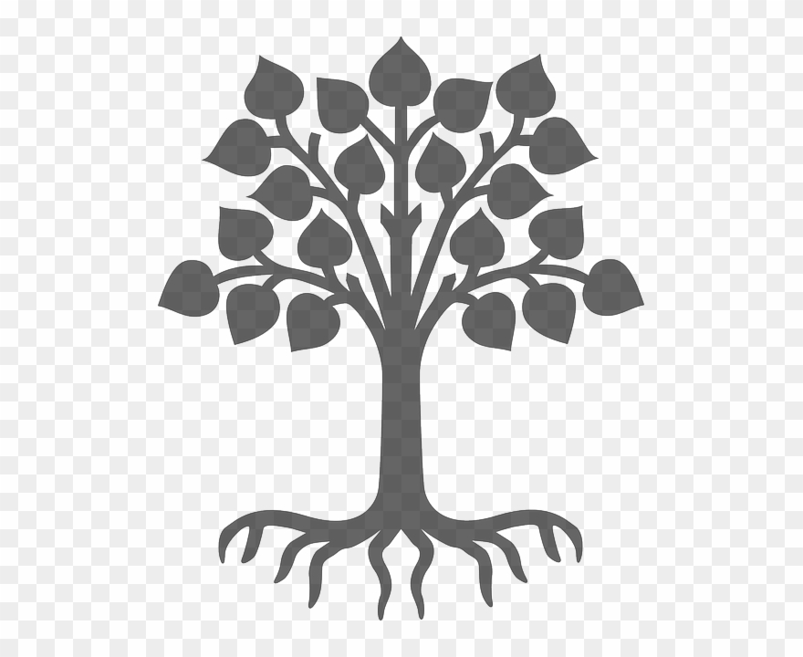 Black and white tree with leaves and roots clipart clip royalty free stock Plant, Silhouette, Grey, Tree, Leaves, Wood, Roots - Child Care ... clip royalty free stock