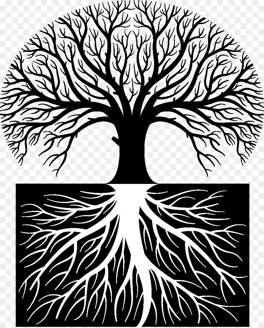 Black and white tree with leaves and roots clipart