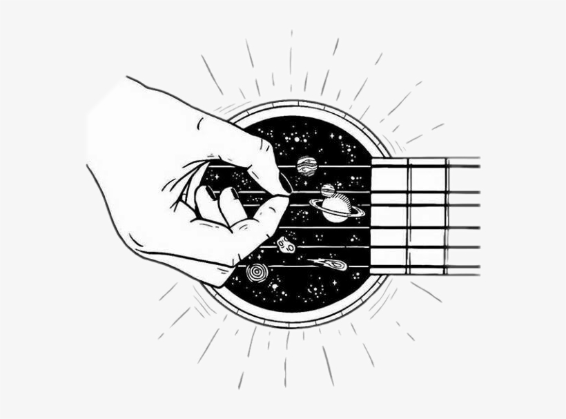 Black and white tumblr cliparts vector library Guitar Galaxy Blackandwhite Tumblr Outline - Black And White ... vector library