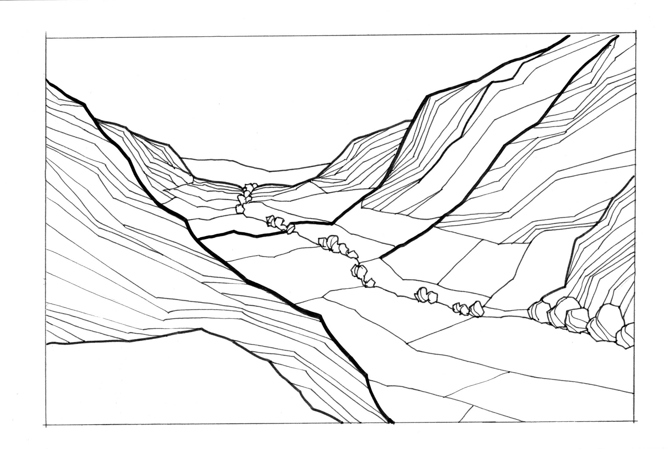 Valley between mountains black and white clipart