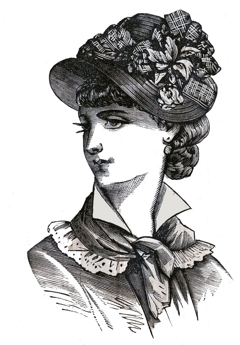 Black and white victorian clipart clip art freeuse library Victorian Clip Art - 3 Hat Wearing Heads - Ladies | For The Love of ... clip art freeuse library