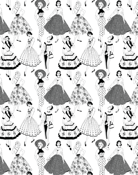 Black and white wallpaper clipart clip library download Vintage Dress Wallpaper, Black & White clip library download