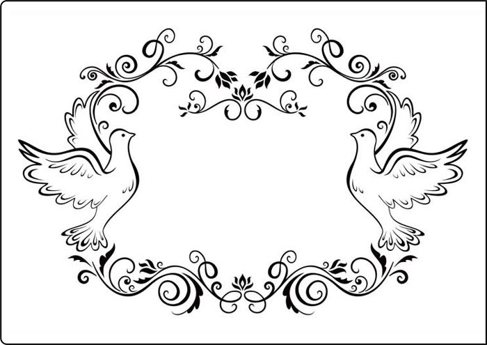 Black and white wedding dove wreath clipart clip transparent stock Crafts Too A4 Embossing Folder - Dove Frame CTA409   Dove Drawings ... clip transparent stock