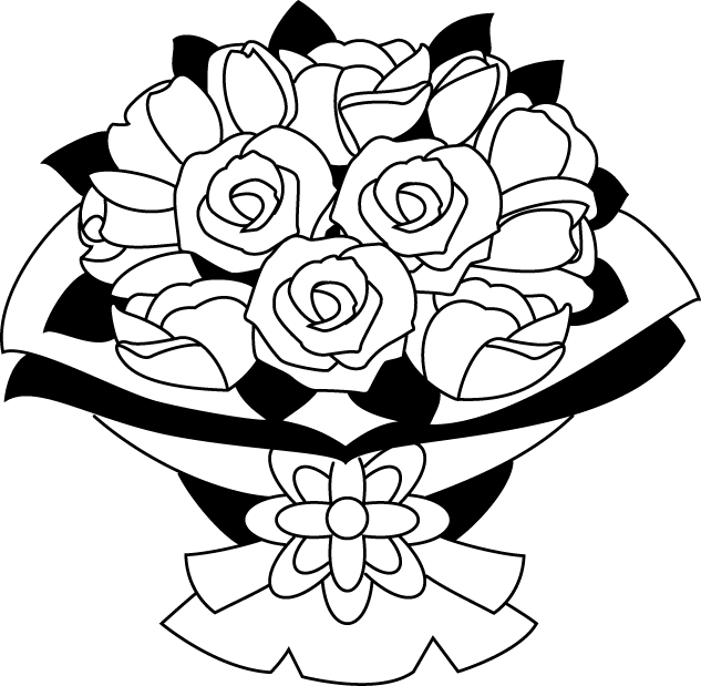 Wedding flower clipart black and white graphic freeuse library 28+ Collection of Rose Bouquet Clipart Black And White | High ... graphic freeuse library