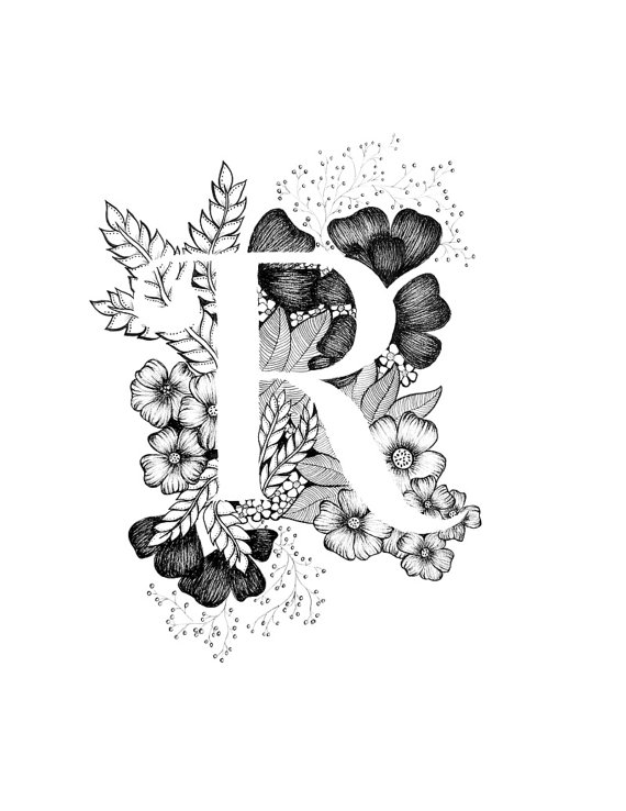 Black and white wedding flower clipart k and r svg royalty free stock Letter R print - Alphabet, Calligraphy, Typography, Monogram ... svg royalty free stock