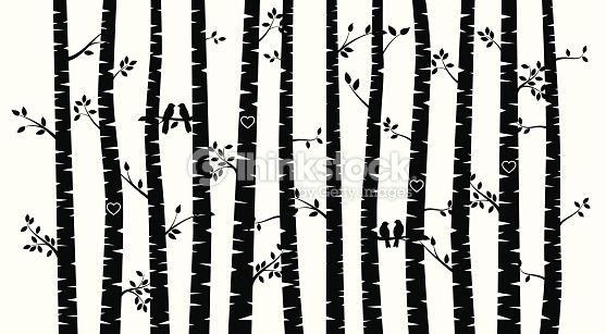 Black and white winter birch tree clipart clipart black and white Black and White Vector Birch Tree Silhouette Background with Birds ... clipart black and white