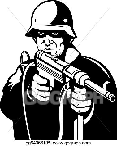 Black and white ww2 clipart banner library Stock Illustration - World war ii german soldier aiming. Clip Art ... banner library