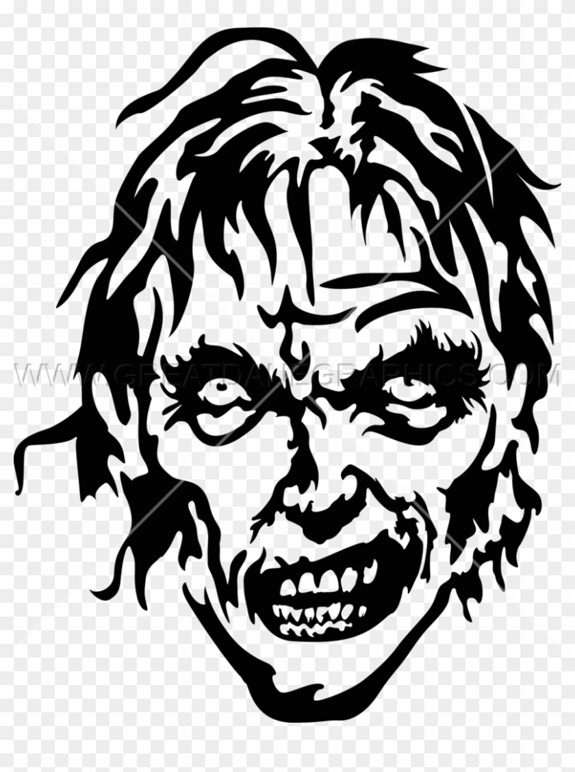 Black and white zombie head clipart