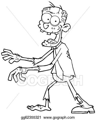 Black and white zombie head clipart picture royalty free library Vector Clipart - Outlined cartoon zombie. Vector Illustration ... picture royalty free library