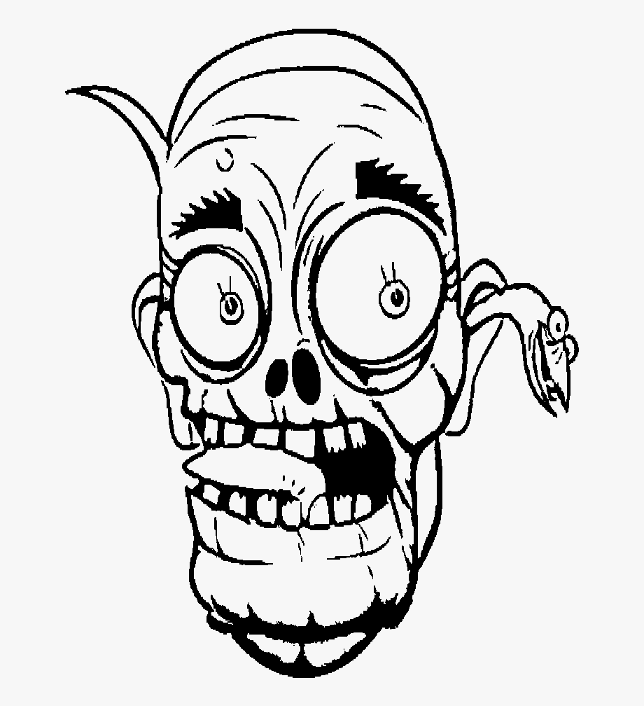 Black and white zombie head clipart vector transparent download Face Zombie Coloring For Kids - Coloring Book #746455 - Free ... vector transparent download