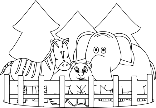 Black and white zoo clipart library Black and White Zoo Clip Art - Black and White Zoo Image library
